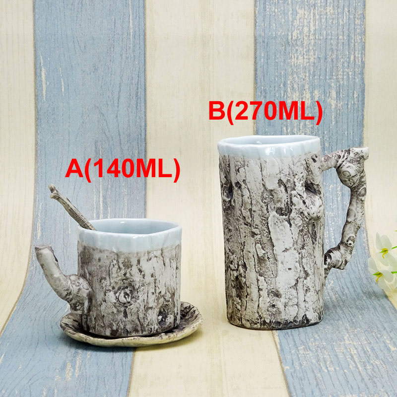 Creative styling trees ceramic mug Handmade Classic style coffee cup Kitchen Dining bar Drinkware Mugs