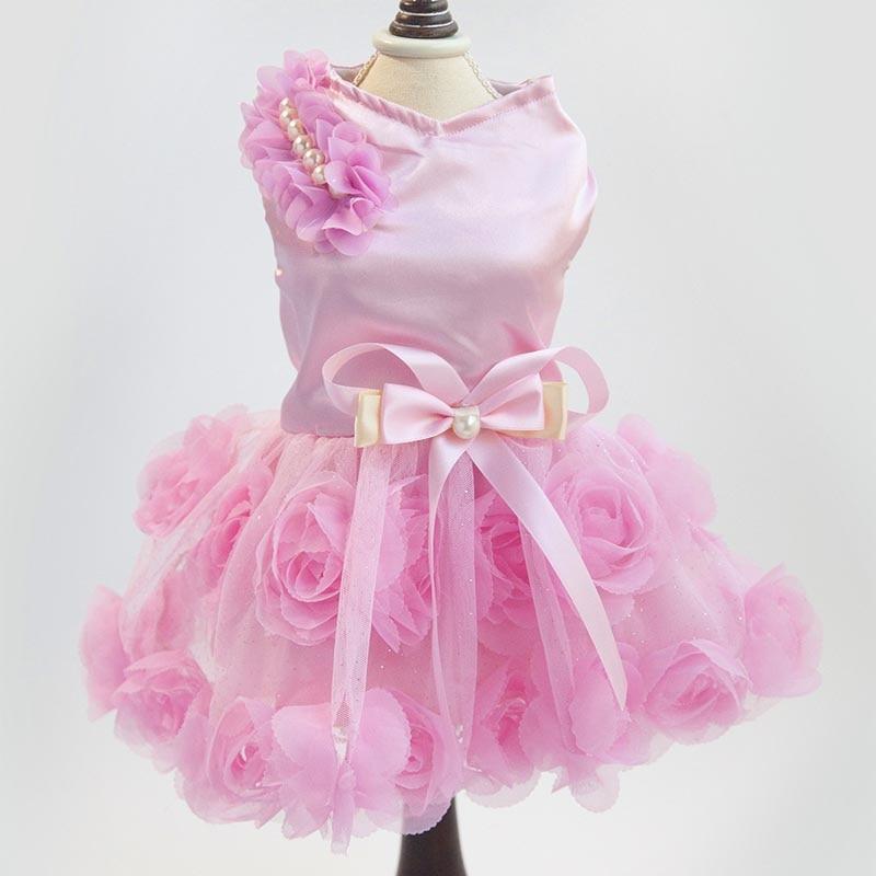 Cute pearl flower Dog puppy luxury dress pet cat Tutu skirt Princess wedding Dress suit dog chihuahua clothes dog bride costume