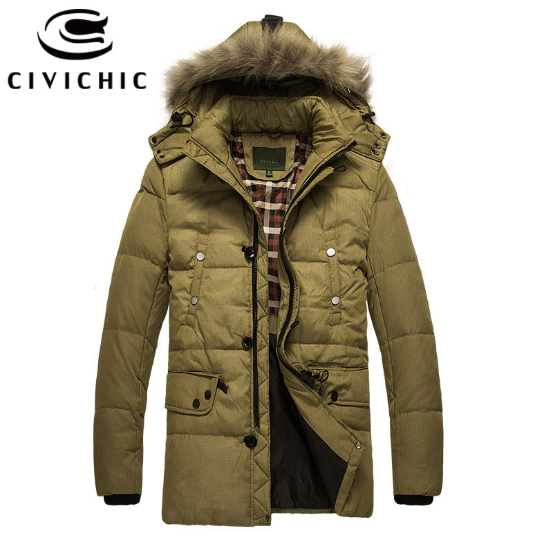 CIVICHIC Classic Winter Warm Parka Coat Men Thick Down Jacket Hooded Windproof Casual Outerwear Mid Long Eiderdown Overcoat DC07 winter jacket men for men thick casual fleece jacket coat hooded warm winter parka windproof brand windbreaker men lm 13029