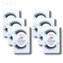 SHILINA False Eyelashes Wholesale 6 Pairs Winged  Eyelash Lashes Voluminous Makeup Natural Cilios Posticos Free Shipping 514