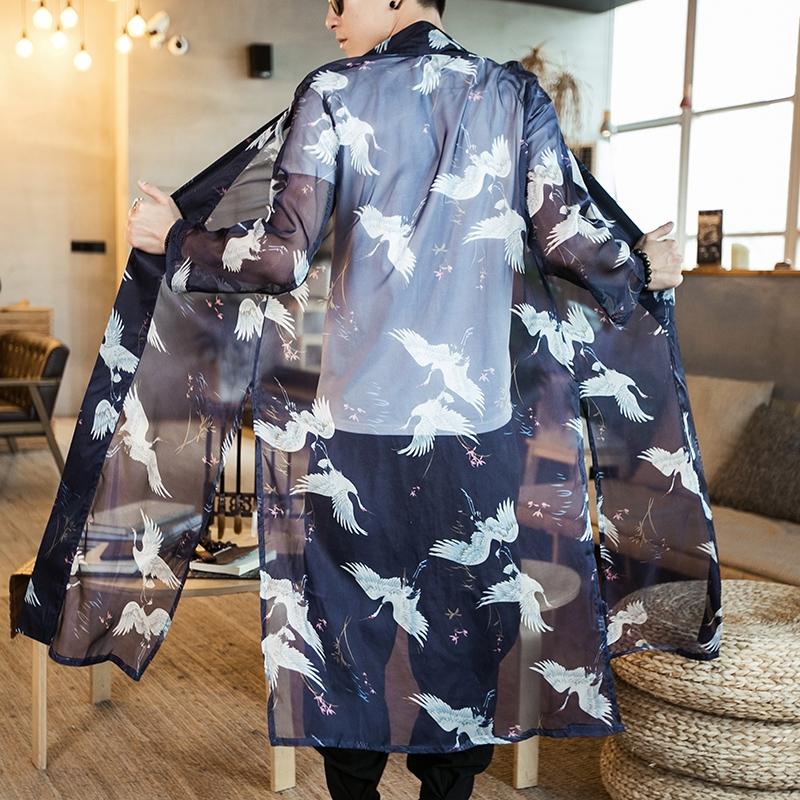 Kimono Cardigan Men Japanese Obi Male Yukata Japan Kimono Men Japanese Fashion Male Haori Obi Samurai Clothing KZ2004