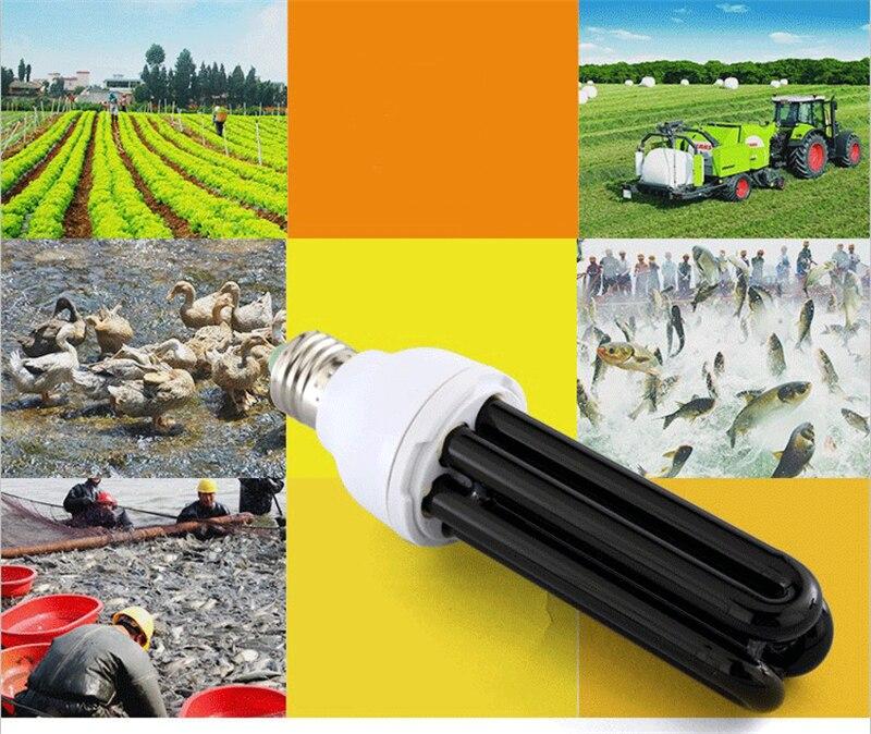 E27 AC 220V 20W 40W 3U uv black light lamp straight quartz Ultraviolet farmer Breeding fish Planting Crop kill insects Trap Lamp