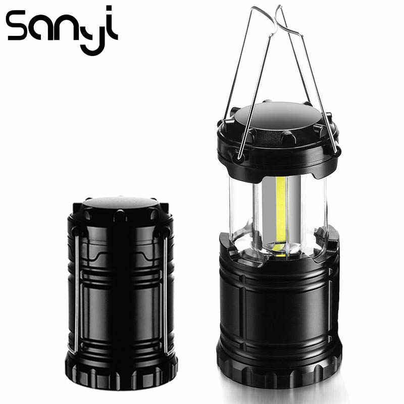 SANYI COB LED Mini Portable Lighting Lantern Camping Lamp Torch Outdoor Camping Light Waterproof Flashlight Powered By 3*AAA