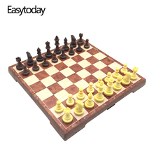 Easytoday Magnetic Chess Games Folding Set Plastic Pieces Checkers Two in one board Table Entertainment Gift