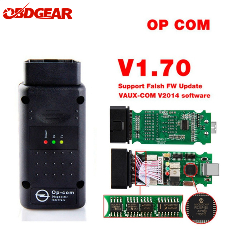 Op com 2018 OBD 2 V1.70 OBD2 Diagnostic-Tool For Opel With Real PIC18f458 OP-COM For Opel Car Diagnostic Scanner Flash Firmware op com car vehicle diagnostic tool black