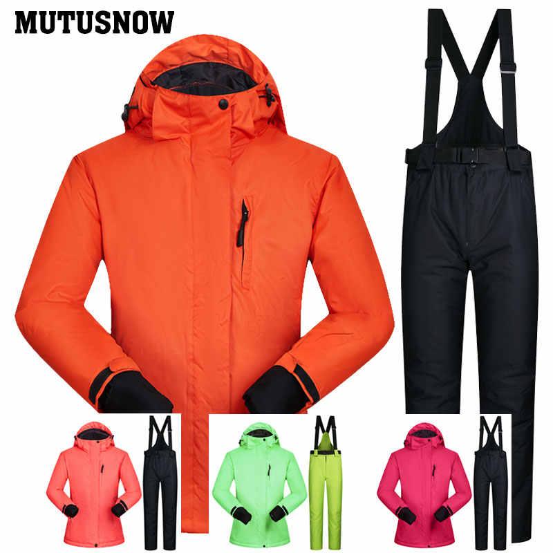 Wanita Ski Merek Jas Kualitas Tinggi Set Tahan Air Hangat-30 Derajat Ski dan Snowboarding Jaket dan Celana Musim Dingin Snowboard suit