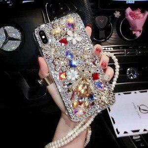 Image 1 - Capa de celular fashion com brilho, capa tpu macia com pedras de cristal, com glitter, para huawei p30 pro p30 p20 lite correia de joias