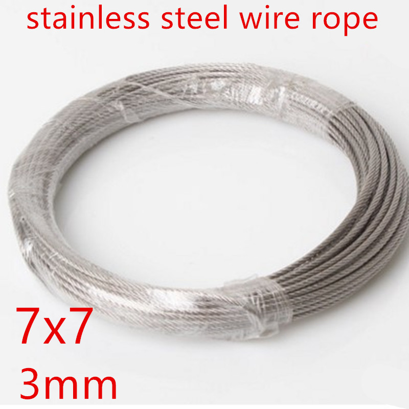 10m/lot 3mm High Stainless Steel Wire Rope Tensile Diameter 7X7 Structure Cable Gray 1 2mm dia 7x7 5 2m long flexible stainless steel wire cable for grinder