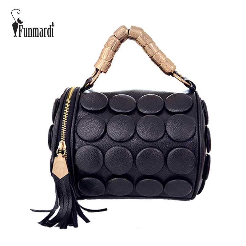 FUNMARDI 2019 Для женщин Сумки бостонские сумки Для женщин Кнопка с Кисточкой дизайнер сумка из искусственной кожи Сумка-мешок, сумка через плечо WLHB3024