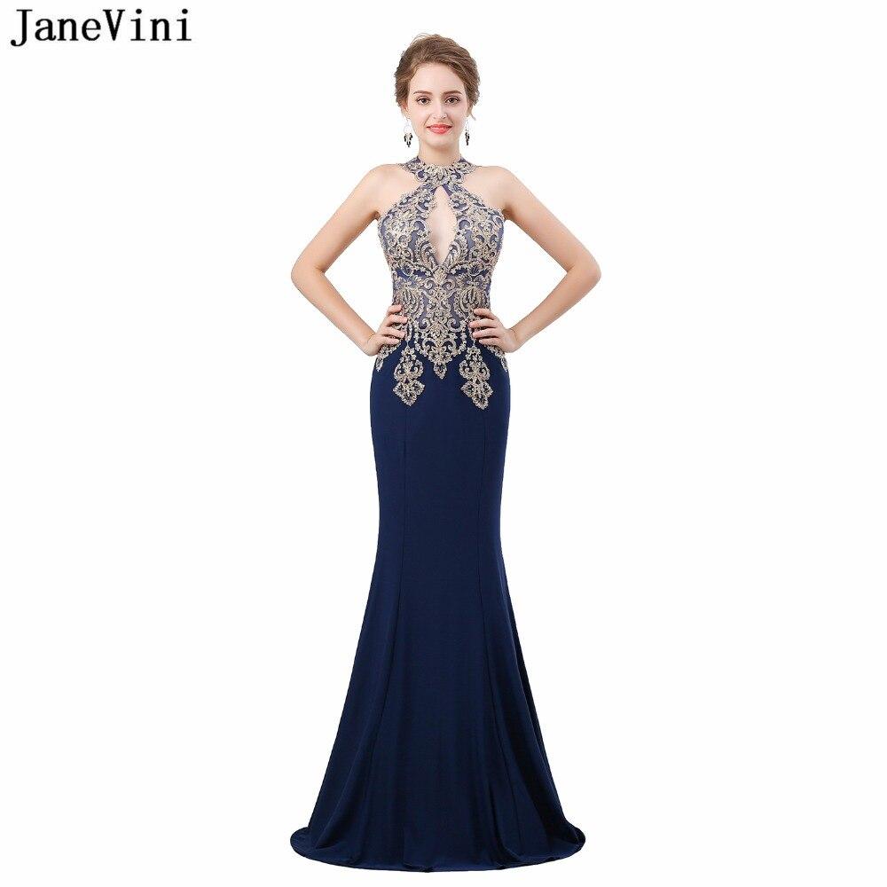 JaneVini robes de soirée sirène pour mère de mariée robes or dentelle Appliques perlées Satin robes formelles bal de promo