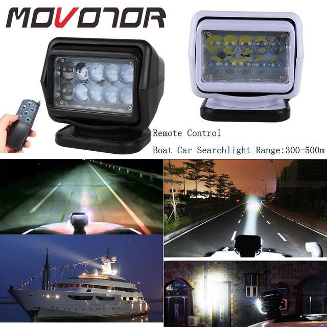 Foco Led de búsqueda marina de 50W reflector inalámbrico, 12/24V, para camiones y barcos, todoterreno, carcasa negra/blanca, rotación de 360, 1 Uds.