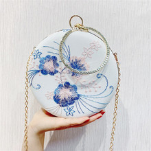 Embroidery Flower Evening Bags Vintage Circular Handbags Purse Ladies Crossbody Shoulder Bag For Girls Wedding Bag Bolsos Female girls open shoulder flower embroidery top