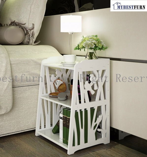Great Mybestfurn White Open Shelf Cabinet, Carved Bird Pattern Nightstand Bed End  Table BAP Free Furniture