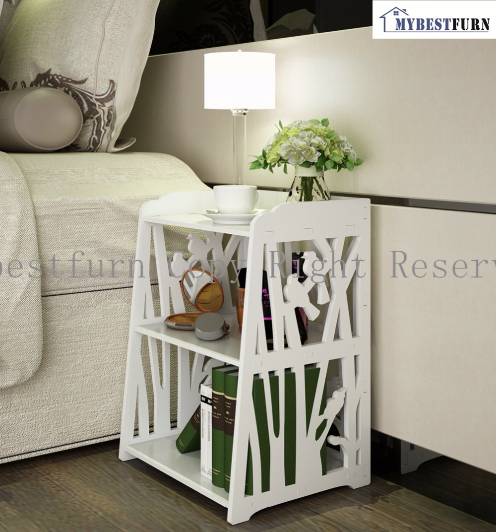 Mybestfurn White Open Shelf Cabinet, Carved Bird Pattern Nightstand Bed End Table BAP free furniture 271N(Storage In USA, China)