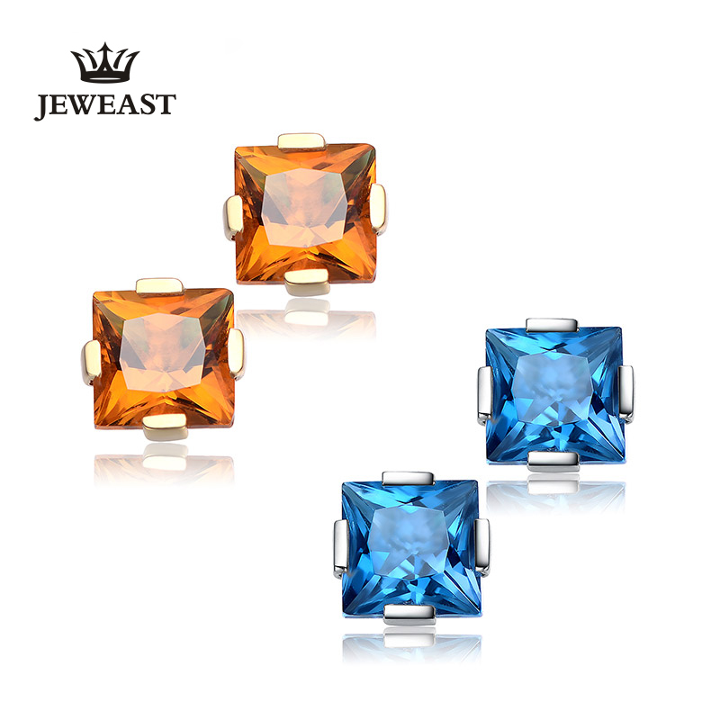 18K Pure Gold Earring Real AU 750 Solid Gold Earrings Good Nice Square Gem Upscale Trendy Classic Fine Jewelry Hot Sell New 2018 real 18k gold jewelry square earring women miss girls gift party female ear wire drop earrings solid hot sale new good trendy