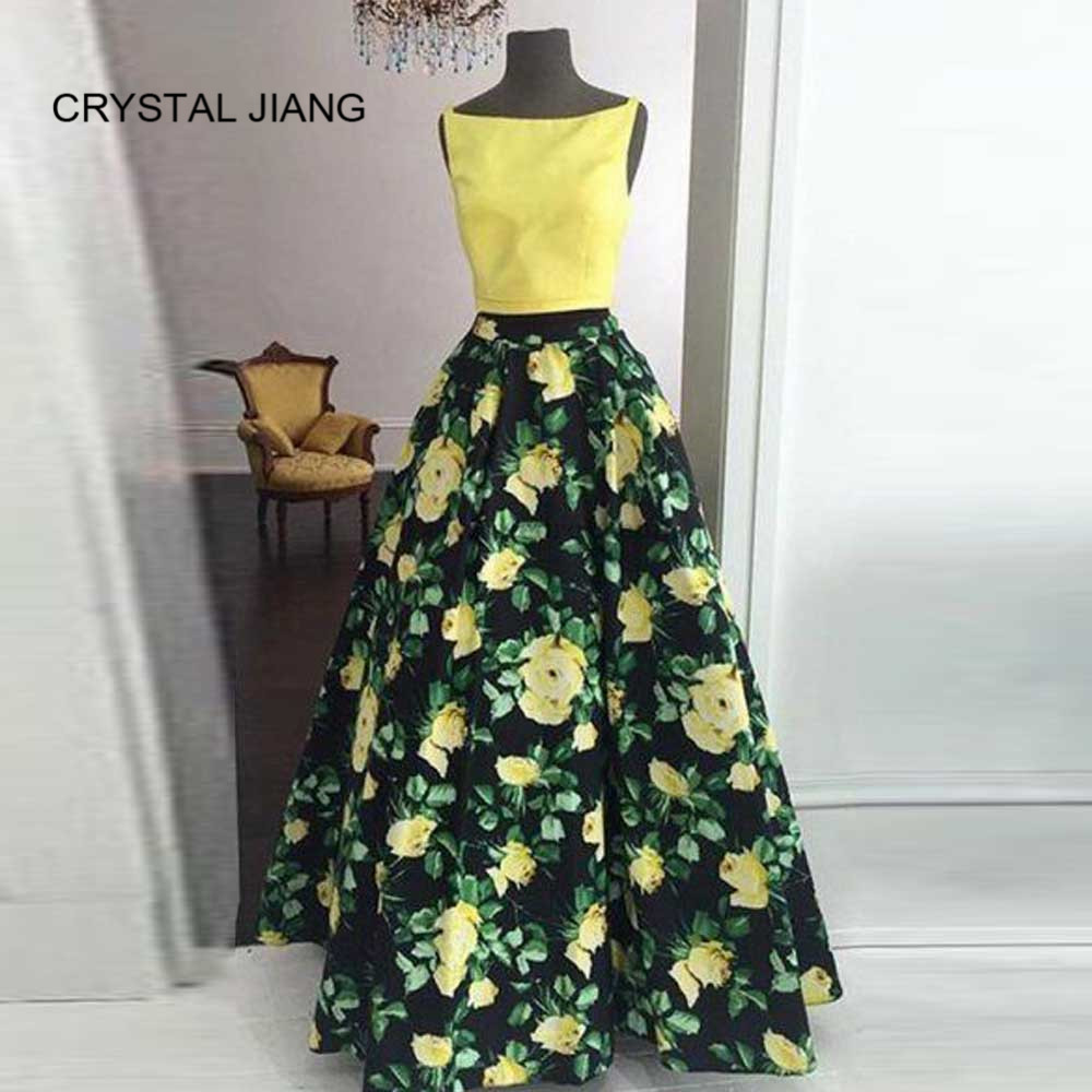 CRYSTAL JIANG Hot Sale 2018 Scoop Collar A Line Yellow Floral Printed Custom Made Formal Long Evening Dresses Elegant