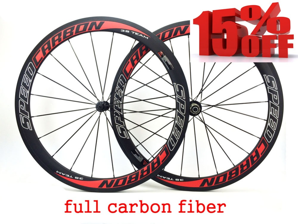 Factory Sale 50mm Full Carbon Wheelset Clincher Type with Novatec 271 Powerway , Ceramic Bearing Hub Aero Spokes Front&Rear set far sports carbon wheels 50mm clincher 23mm wide with novatec hub and sapim spokes novatec carbon wheels fsc50cm 23 700c