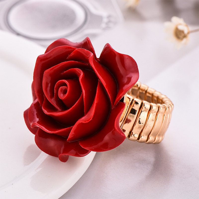 2019 New Arrival red colors Resin Rose Flower Gold Color Adjustable rings For Women Wedding party Fashion Statement Finger Ring in Engagement Rings from Jewelry Accessories