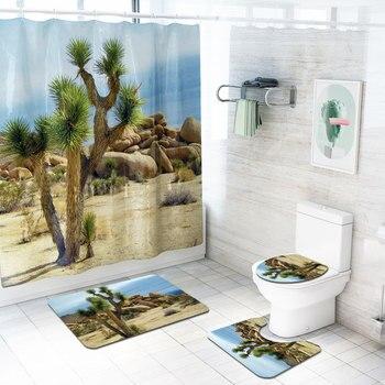 Drzewa pustynne kwiatowy Print 4 sztuk/zestaw zasłona prysznicowa cokole dywan pokrywka toaleta pokrywa mata do kąpieli zestaw łazienka zasłony z 12 hakami|Zasłony prysznicowe|   -