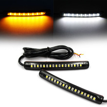 2pcs Motorcycle 17LED Flexible Strip Light Turn Signal Indicator White+Amber Brake light and Running Tail light накладная люстра 06 2670 0333 16 gold amber and white crystal n light