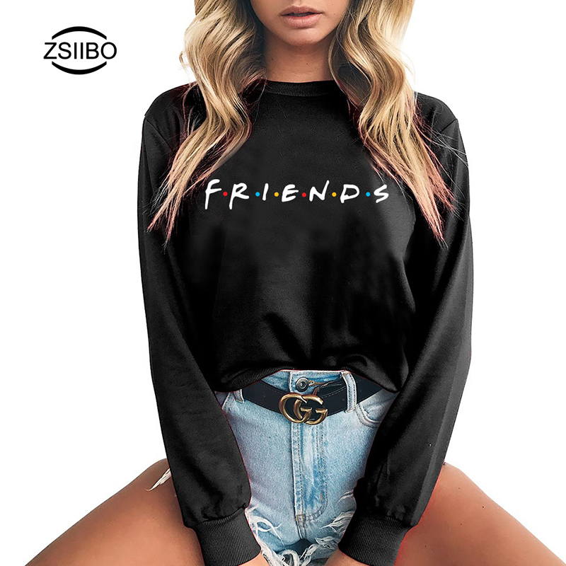Hoodies Plus Size Womens FRIENDS TV SHOW Print O Neck Winter Sweatshirts In Women Hoodies Casual Long Sleeve Tops Clothes Female