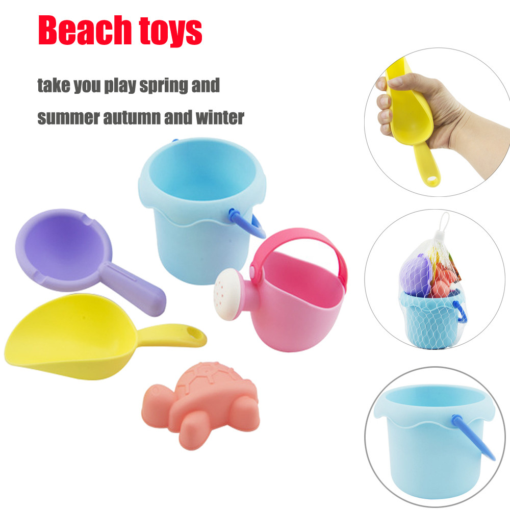 5Pcs Sand Toys Tools Kids Set Beach Castle Bucket Spade Shovel Rake Water Tools Beach Sandbox For Children Toys A1