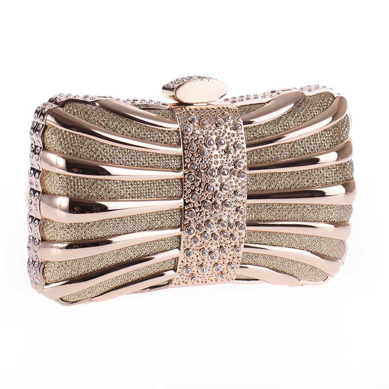 High Quality Metallic Women's Clutch Solid Hollow Evening Bag Crystal Hasp Handbag Flap Fit Dress Party Lady Pouch Shoulder Bag