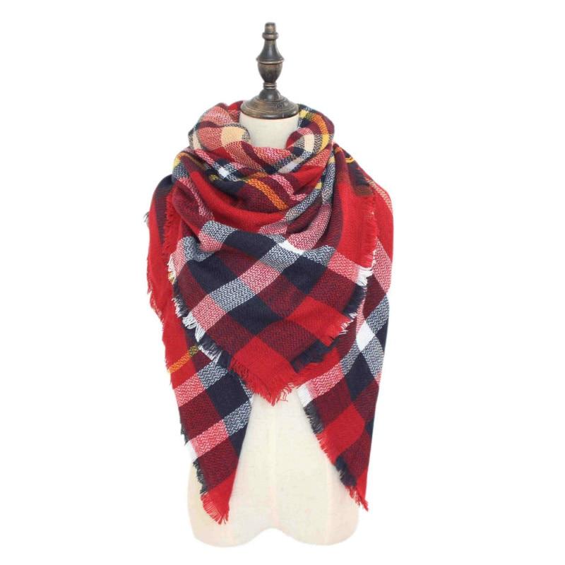 Winter luxury Brand Plaid Cashmere Scarf Womens