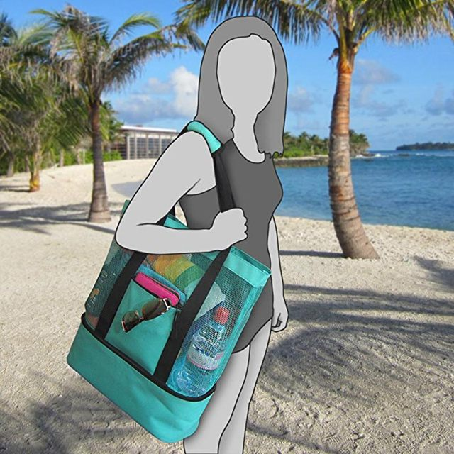 Newly Portable Insulated Cooler Bag Food Picnic Beach Mesh Bags Cooler Tote Waterproof Bags