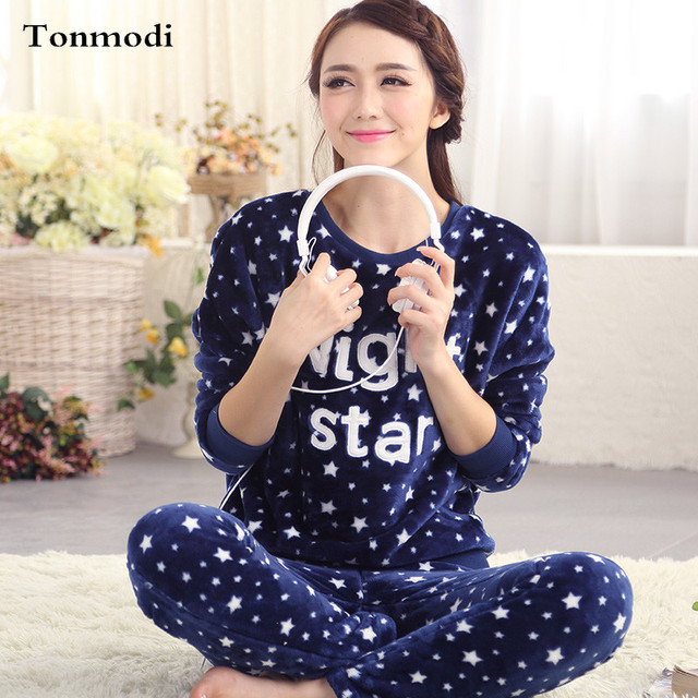 Pajamas Women Winter Sleepwear Flannel Warm Long-sleeve Pajama Pullover Pyjamas  Sets Lounge Womens Pajamas 778ecb592
