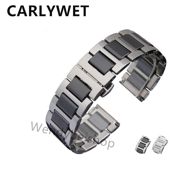 16 18 20mm Men Lady Silver Solid Steel Watch Band Strap Belt Bracelet with Black White Ceramic Middle Links Double Push Clasp carlywet 22 24mm silver solid screw links replaceme 316l stainless steel wrist watch band bracelet strap with double push clasp
