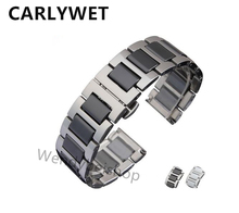 16 18 20mm Men Lady Silver Solid Steel Watch Band Strap Belt Bracelet with Black White
