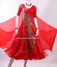 Red Standard Ballroom Dance Dress Women High Quality Custom Made Stage Competition Tango Waltz Ballroom Dancing Dresses