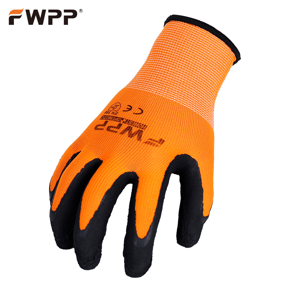 FWPP 12 Pairs Work Gloves Breathable Non-slip Wear-resistant Latex Coated Fluorescent Orange Factory Garden racmmer cycling gloves guantes ciclismo non slip breathable mens