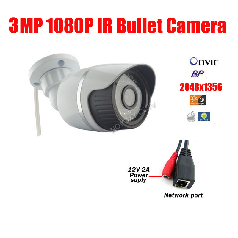 Free shipping 3MP IP Camera Outdoor indoor Camera IP Outdoor Bullet CCTV Waterproof IP66 CCTV P2P Onvif IR CUT Night Vision цена