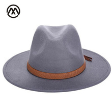 Autumn and winter retro fedora men's and women's universal solid color snake leather belt classic church hats bowler jazz man