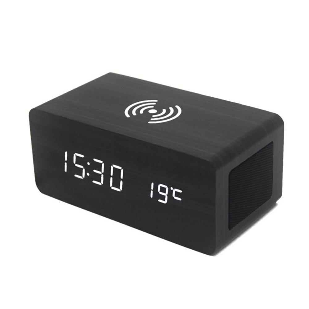 Réveil bois haut-parleur Bluetooth commande vocale réveil LED numérique sans fil charge téléphone température horloges de Table en bois