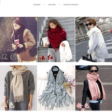 New Winter Scarf Fashion Women Shawls Luxury Plaid Cashmere Scarves Retro Tassels Solid Color Wholesale