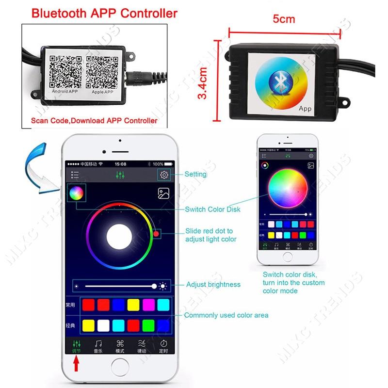 4Pcs Bluetooth APP Control Car RGB LED Strip Lights Car Styling 9 led - Luces del coche - foto 2
