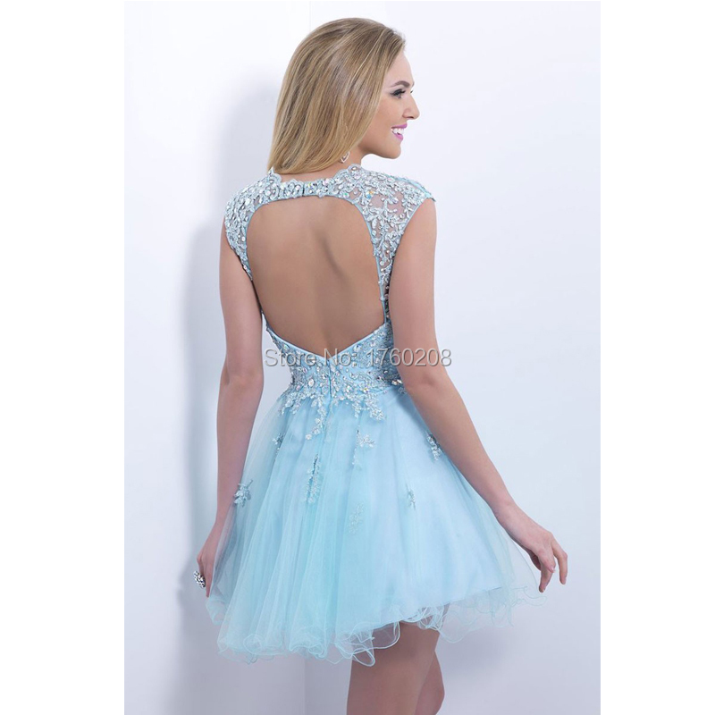 2015 Light Blue Short Lace Applique Tulle Cap Sleeve Homecoming ...