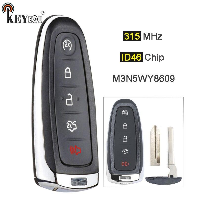 Keyecu 315 mhz id46 pcf7953 m3n5wy8609 5 botão inteligente remoto chave fob para ford edge escape expedição c-max taurus flex foco