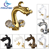 Wholesale And Retail Solid Brass Bathroom Dragon Faucet Dual Handles Vanity Sink Mixer Tap Deck Mounted