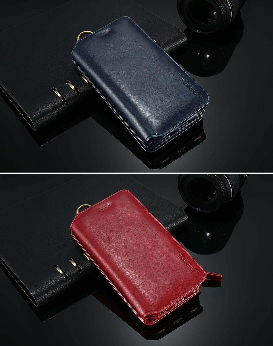 FLOVEME Hybrid Detachable Leather Case For Samsung Galaxy S7 Edge 18 Card Slot Metal Zipper Cash Storage Wallet Pouch Cover Bag (14)