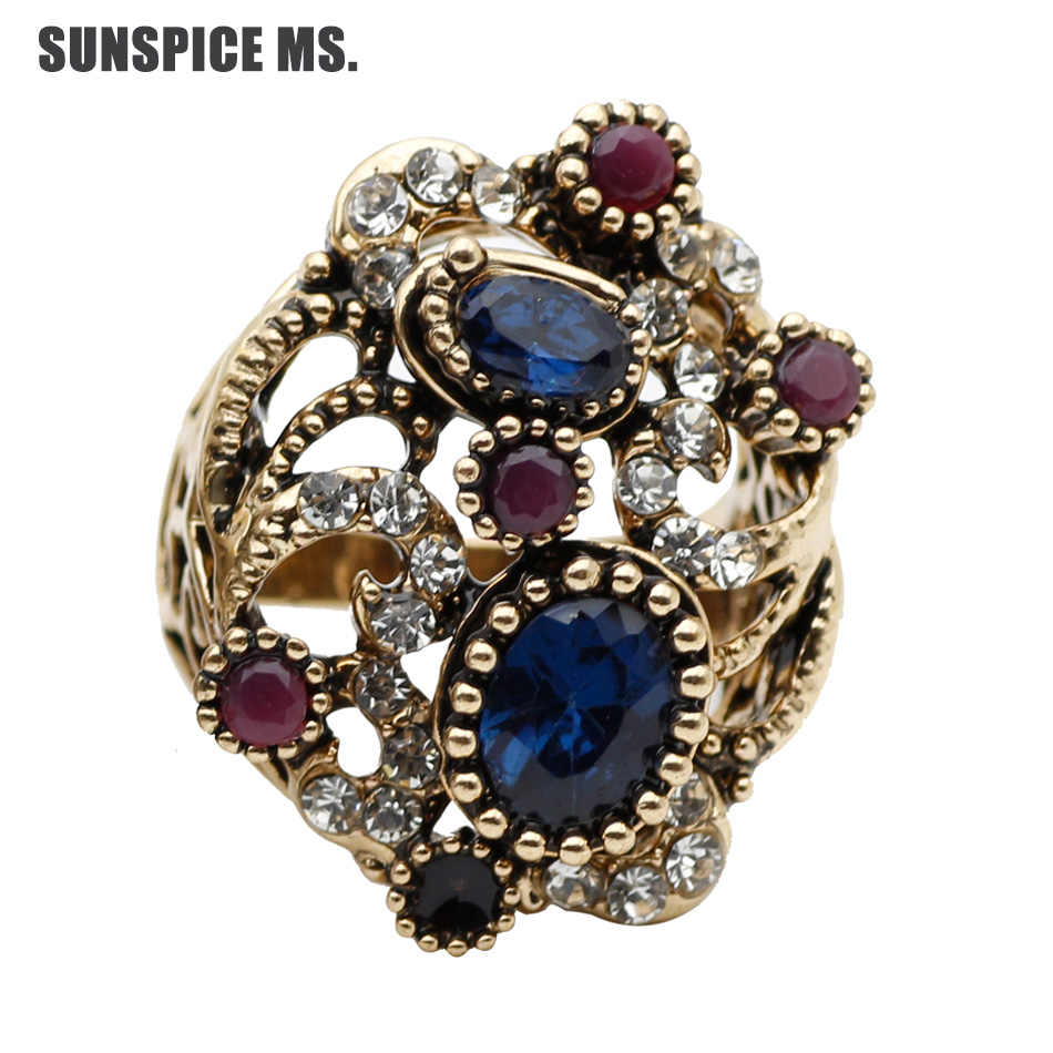 Promosi Turki Wanita Vintage Cincin Resin Perhiasan Warna Antik Etnis Berongga Bunga Cincin Pernikahan Pengantin India Bijoux
