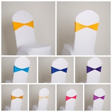 Various colour spandex chair cover sashes Lycra bands stretch chair sash bow tie For Wedding Decoration banquet design for sale