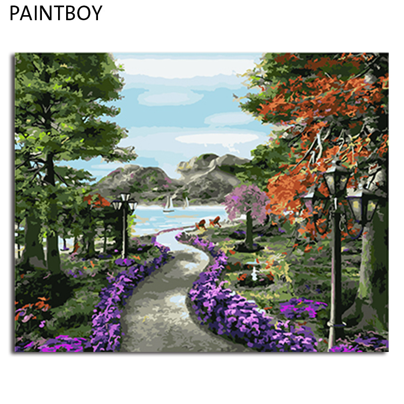 PAINTBOY Landscape Framed Pictures Painting By Numbers Painting and Calligraphy DIY Coloring By Numbers on Canvas