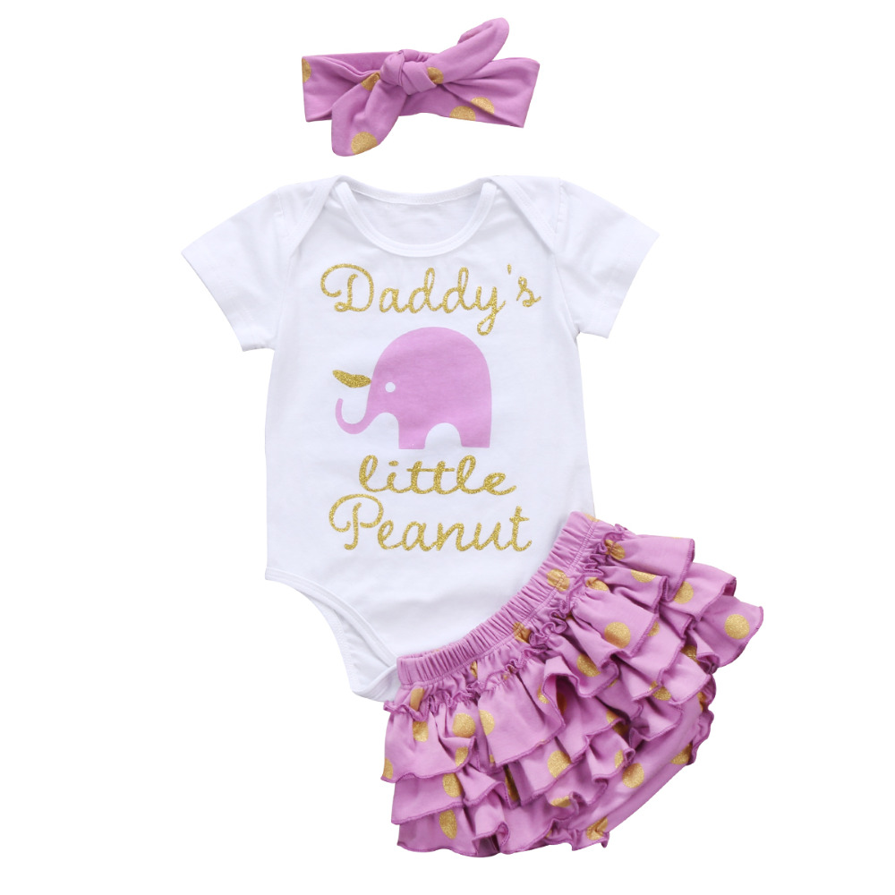 Cute Newborn Baby Girl Clothing Short Sleeve Letter Romper Top Tutu Skirted Bloomers Sho ...