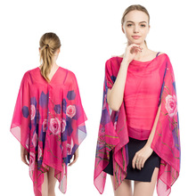 Women Female Scarf Shawl Poncho flower Printed Sunscreen Sun Protection Beach Bikini Cover Soft Free Size