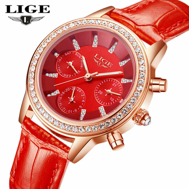 LIGE Top Luxury Brand Watch Fashion Casual Leder Quarzuhr Damen Diamant Kleid Uhren Weiblichen geschenk Relogio Feminino