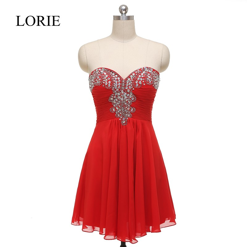 e8cb11a4271 New Arrival Red Short Prom Dresses 2016 Sweetheart Empire Waist Beaded  Chiffon Homecoming Cheap Cocktail Party Dress Zipper Back